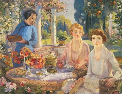 "Colin Campbell Cooper [1856-1937] ""Tea Time, Santa Barbara 1921"" 36 x 46 inches, oil on canvas, excellent condition!"